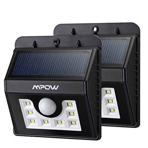Mpow ソーラーライト センサーライト 玄関ライト 8LED 屋外照明/軒先/壁掛け/庭先/玄関周りなどのライト 夜間自動点灯(2点セット)