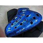 ABS樹脂トリプル( 3) Voicing穴オカリナアルトCダークブルーW。DiffusedブラックNebulousクラウドパターン