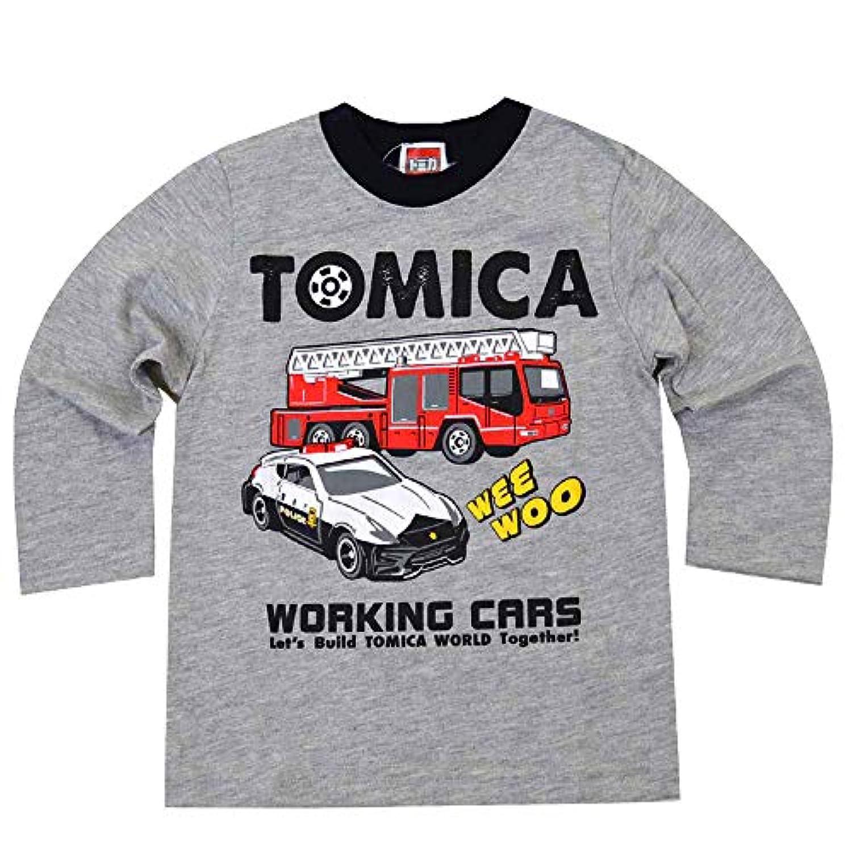 トミカ プラレール 長袖 Tシャツ ベビー キッズ 男の子 fo-nt04(90cm-TOMICA:杢グレー)