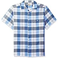 Haggar Mens 555018 Short Sleeve Textured Shirts Short Sleeve Button Down Shirt - Multi