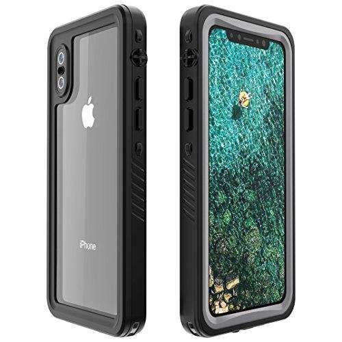 Amorno iPhonex防水ケース IP68規格 完全防水 無線充電サポート耐衝撃 衝撃吸収 フェイスID認証対応 操作便利 脱着簡単 保護タッチパネルスクリーン付き (ブラック)