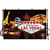 comophoto写真バックドロップClassical Sign Welcome Las Vegas City Night Party Banne写真ブースの背景に画像7 x 5ft