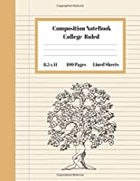 Composition Notebook College Ruled Lined Sheets: Large Pretty Under 10 Dollar Notebook Paper Back to School Botanical Bonsai Tree coloring Gifts and Home Schooling Writing Notes For Girls Boys Teens Women students Kids Adults Teachers