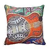 ドブロ・ギターポリエステル装飾用クッション16&;16&; クッションカバーお部屋のソファー ベッド 車に適用インテリア 背当て 45*45cm ピローケース