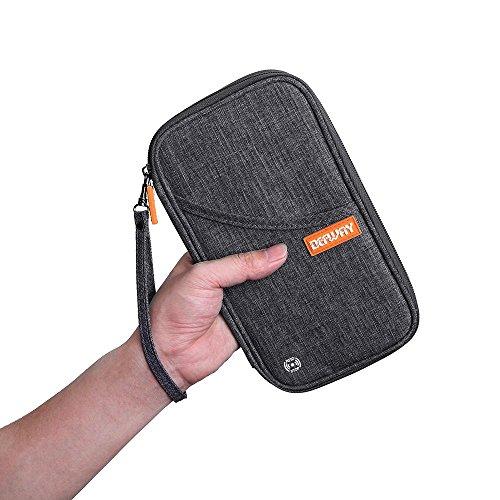 トラベルポーチ 便利グッズ DEFWAYパスポートケース ギフト スキミング防止 クラッチバッグ 出張 ビジネス カバン おしゃれ 長財布 メンズ 海外旅行 カード 貴重品入れ スマホ iphone6/6s/7/7 plus 収納バッグ グレー