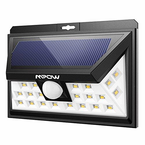 Mpow 24 LED 電球色 ソーラーライト センサーライト 玄関ライト 屋外ライト 防犯ライト 外灯 ワイヤレス人感センサー 広角ライト 屋外照明/軒先/壁掛け/庭先/玄関周りなど対応 夜間自動点灯 三つの点灯モード 防犯用(電球色)