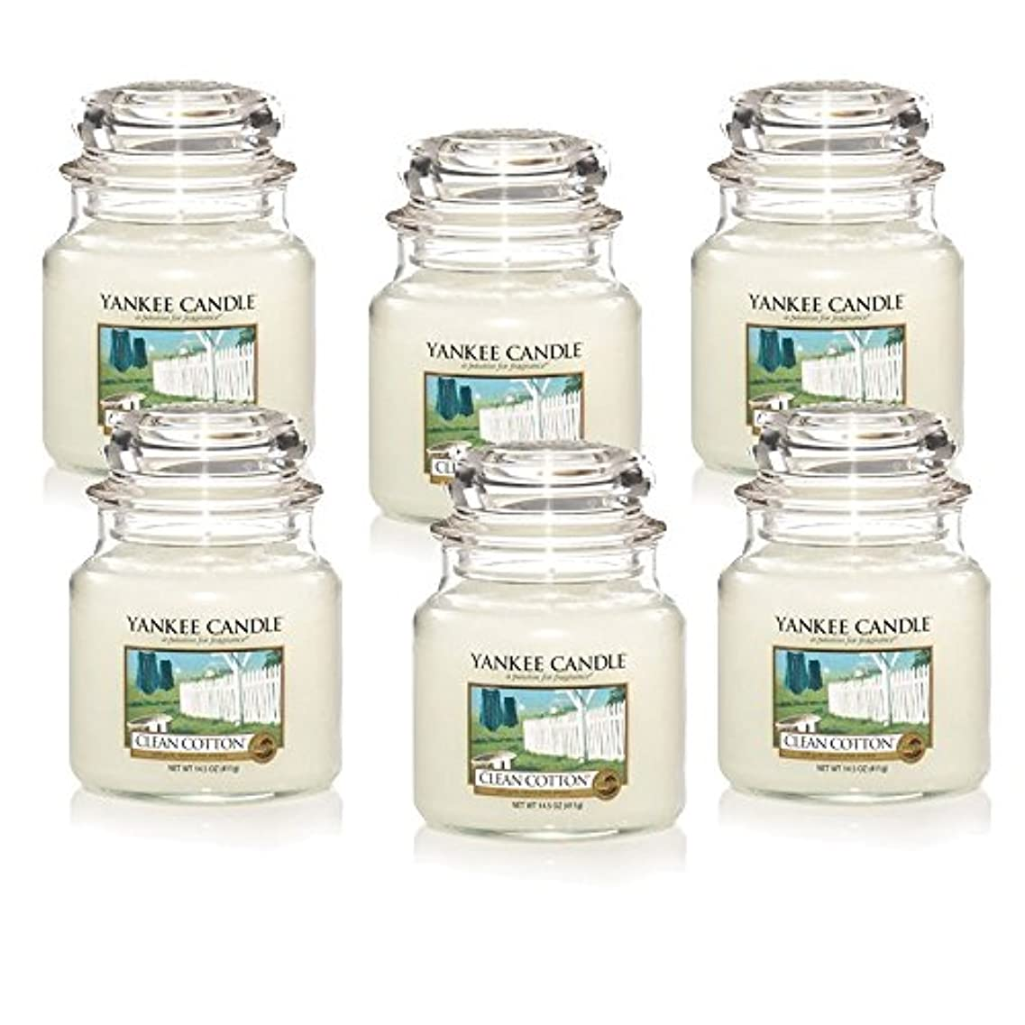 大胆寝室アストロラーベYankee Candle Company Clean Cotton 14.5-Ounce Jar Candle, Medium, Set of 6 [並行輸入品]