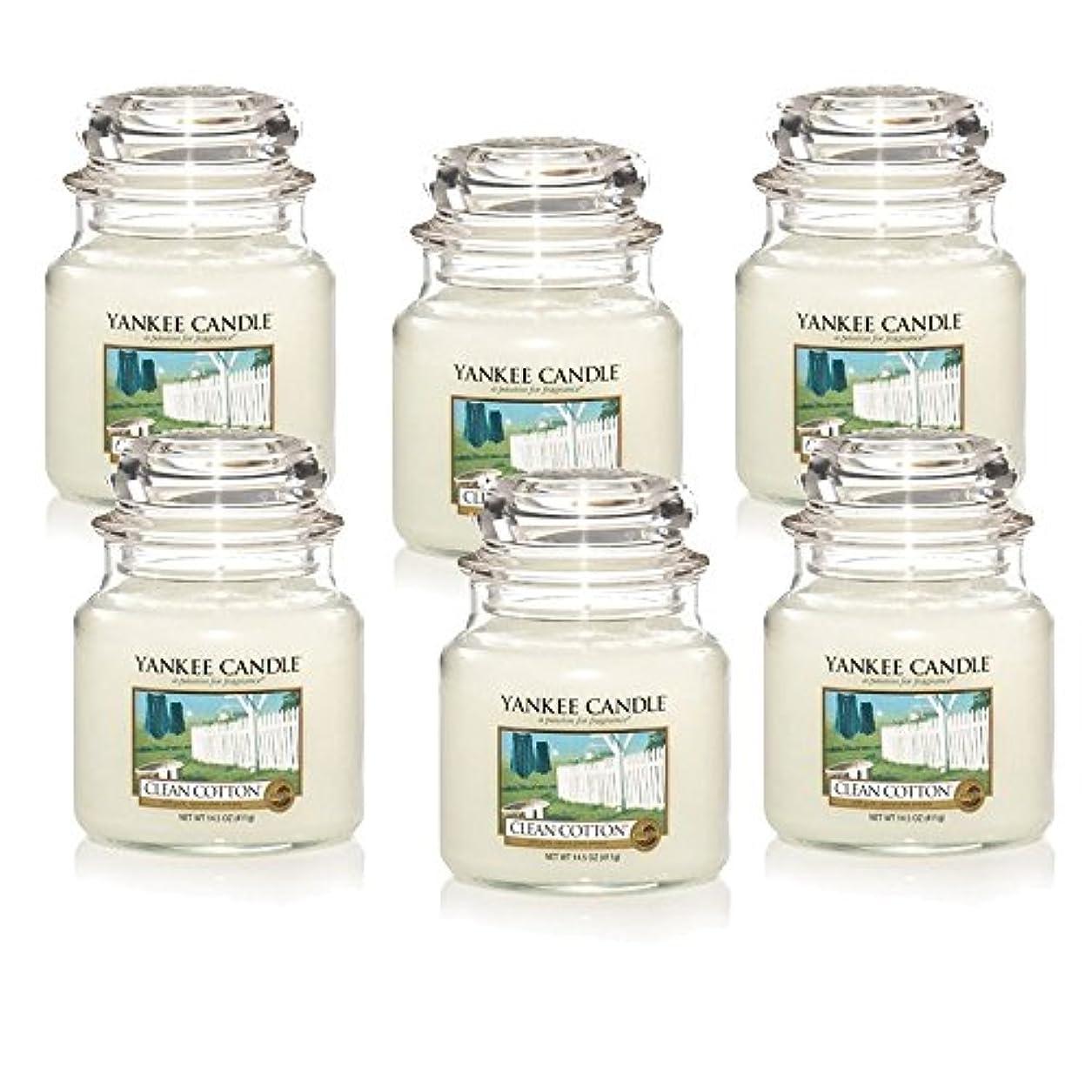 チャンピオンシップぼかす旅行Yankee Candle Company Clean Cotton 14.5-Ounce Jar Candle, Medium, Set of 6 [並行輸入品]