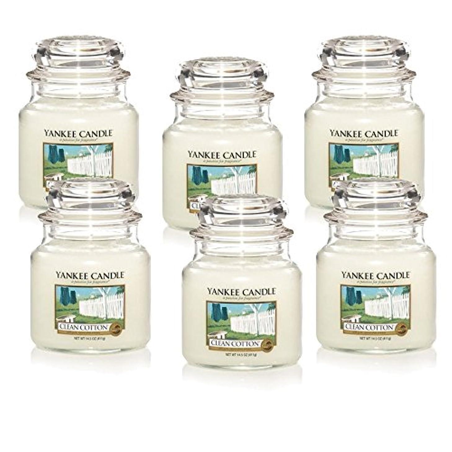 胴体ラボエージェントYankee Candle Company Clean Cotton 14.5-Ounce Jar Candle, Medium, Set of 6 [並行輸入品]