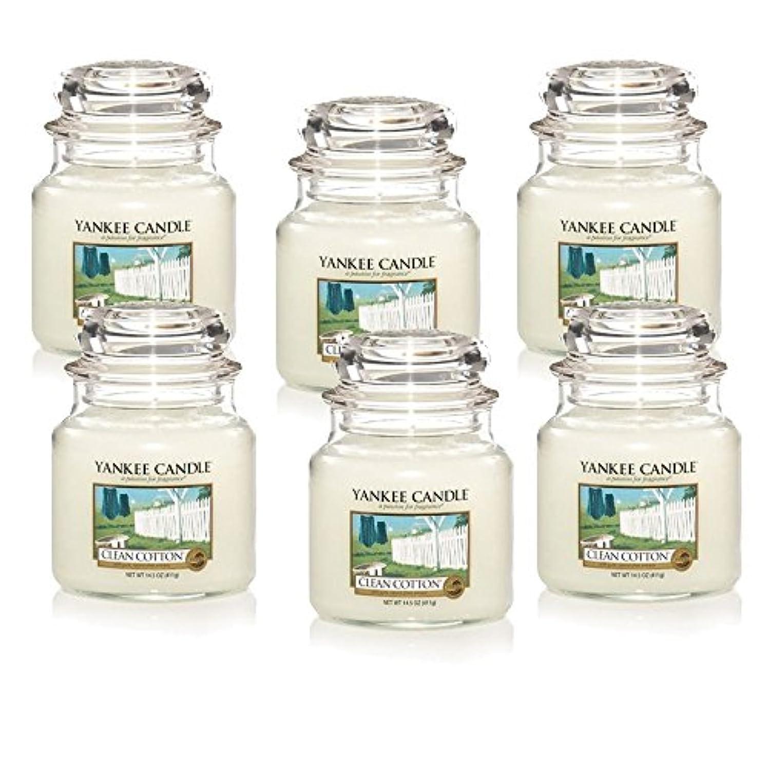 宿命半島励起Yankee Candle Company Clean Cotton 14.5-Ounce Jar Candle, Medium, Set of 6 [並行輸入品]