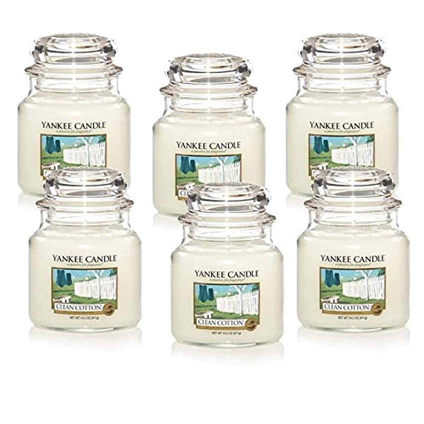 幻滅速度有名Yankee Candle Company Clean Cotton 14.5-Ounce Jar Candle, Medium, Set of 6 [並行輸入品]