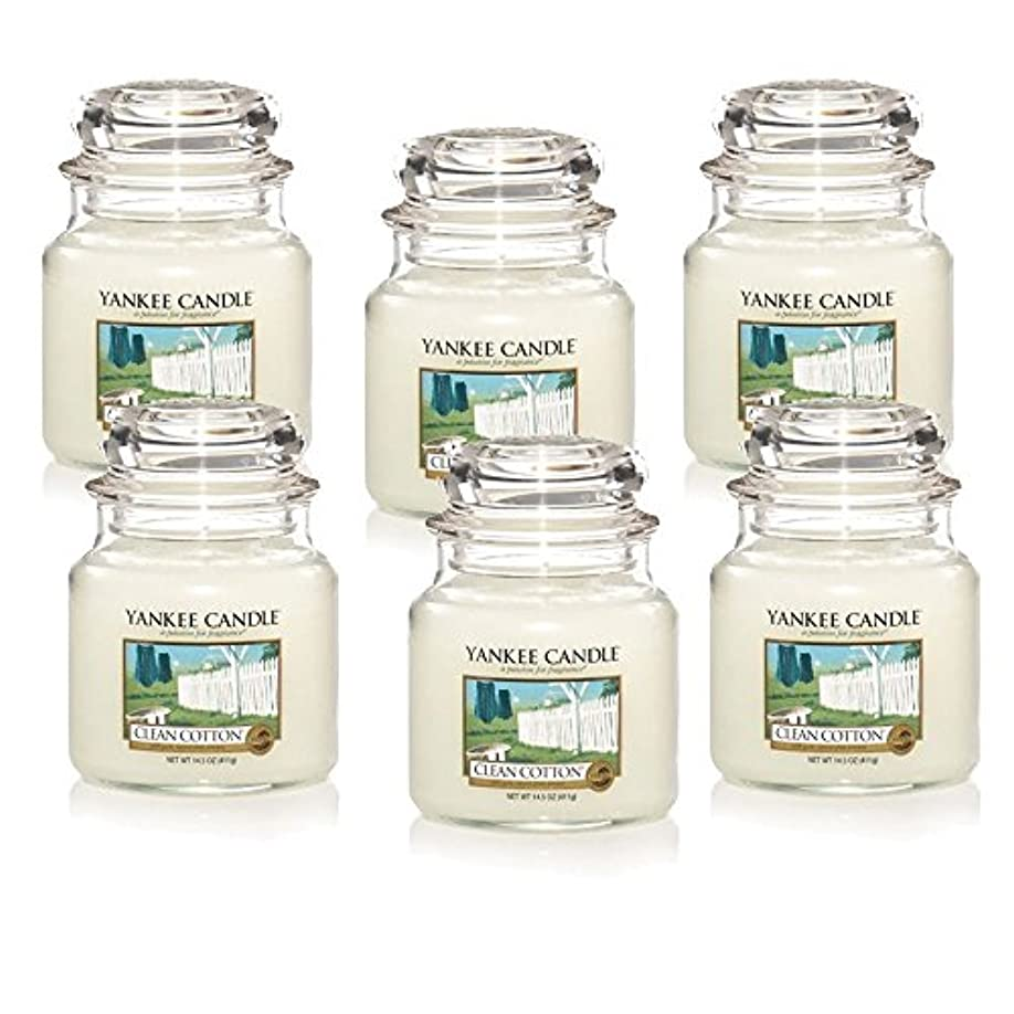 ようこそトリプル北西Yankee Candle Company Clean Cotton 14.5-Ounce Jar Candle, Medium, Set of 6 [並行輸入品]