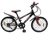 Cyfie フェニース 子供用自転車 20インチ 6段変速 スタンド型 泥よけ付 簡単に安装 ジュニアマウンテンバイク スポーティサドル (オレンジ)