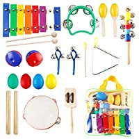 Toddler Toys Kids Musical Instruments Kictero Wooden Baby Toys Percussion Set Rhythm Band Instruments Preschool Educational Musical Learning Toys for Girls and Boys [並行輸入品]