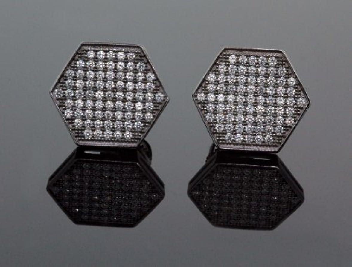 添付嘆願承認。925スターリングシルバーブラック六角ホワイトクリスタルマイクロパヴェユニセックスメンズスタッドイヤリング13 mm