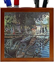 Rikki Knight Claude Monet Art Bathers at La Grenoulliere Design 5-Inch Wooden Tile Pen Holder (RK-PH3474) [並行輸入品]