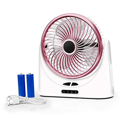 Verkstar USB扇風機 サーキュレーター 卓上扇風機 風量3段階調節 超静音 USB充電式 大容量4000mAh モバイルバッテリー機能&LEDライト付き 日本語説明書付き(ローズゴールド)