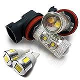 お買い得バルブセット H11 50W LEDフォグランプ & T10 LEDポジションランプ ホワイト サムスン製 高輝度 キャラバン H11 E25 対応