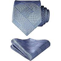 HISDERN Mens Solid Color Plaid Tie Handkerchief Wedding Party Necktie & Pocket Square Set