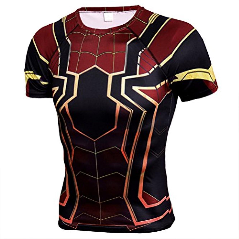 シンプトン地図プレミアメンズ Tシャツ半袖 Spider Manスパイダーマン吸汗速乾 コンプレッションウェア パワーストレッチ アンダーウェア