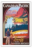 カナダ太平洋 - カナディアンロッキーのバンフ - ビンテージな鉄道旅行のポスター によって作成された ジェームス・クロッカート c.1936 - アートポスター - 76cm x 112cm