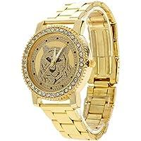 Chinatera 2016 Fashion Rhinestones Top Brand Tiger Wristwatches Luxury Watches (Gold)