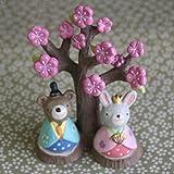 雛人形「桃の木とくまとうさぎのおひなさま」ひな祭り人形~桃の節句に