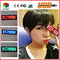 4411 Red LED name display scrolling text message/name card tag sign advertising board Rechargable programmable led tag [並行輸入品]