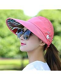 IAIZI 女性の折りたたみ式サン帽子、夏カジュアルサンプロテクションロング帽子の寝袋空のトップハット (色 : Pink)