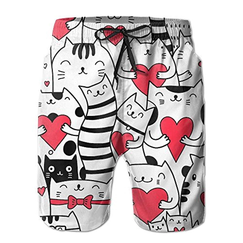 猫 赤いハート メンズ サーフパンツ 水陸両用 水着 海パン ビーチパンツ 短パン ショーツ ショートパンツ 大きいサイズ ハワイ風 アロハ 大人気 おしゃれ 通気 速乾
