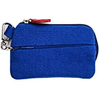 On The Go - Card and Coin Pouch, 2 Zippered Pockets, Slim Fabric Design (Blue)