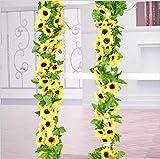 造花の藤 ひまわり 壁飾り花 枯れない花 ガーランド 向日葵 インテリア飾り 壁掛け 人工花 人工観葉植物 家庭やパーティーの装飾のための花輪を吊る 喫茶店/スーパー/茶室/自宅に適用 2.6メートル(2束 イェロー)