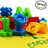 EMIDO 40ピースジャンボナットボルトおもちゃ、建物ブロックセット、子供教育玩具Enlightenment Stem、おもちゃ、MontessoriマテリアルFineモーターおもちゃ作業療法、自閉症、セーフマテリアルfor Kids
