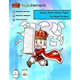 Royal Elements Printable Vinyl Sticker Paper for Inkjet Printers - 10 Waterproof Sheets - Glossy White Photo Quality Full Label Sheets - Extreme Durability