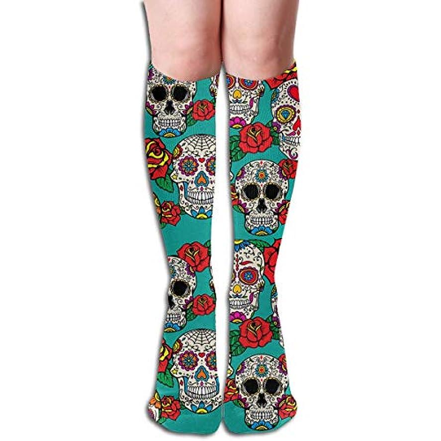 自然出します下にqrriyシュガースカルとバラディアチューブストッキングレディース冬暖かい膝ハイソックスブーツ靴下