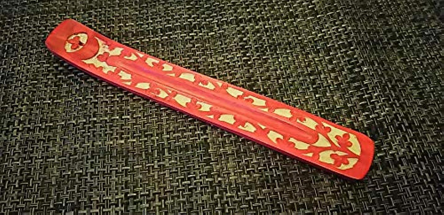 ウェブストラップ食器棚お香立て インド 赤 黒 緑 (赤)