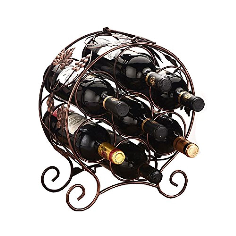 ワインラック 鉄製 床置きワインボトルシェルフ ゴールド