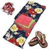 [オオキニ] 浴衣 帯 下駄 かごバッグ 4点セット 帯締め付も選べる 京都デザイン 変り織 レディース フリーサイズ