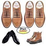 COOLNICE 結ばない 靴ひも 防水 シリコン ゴム シューレース 大人 ブーツ カジュアルシューズ 革靴 専用 オシャレ ビジネス 靴紐 ブラウン*2点セット
