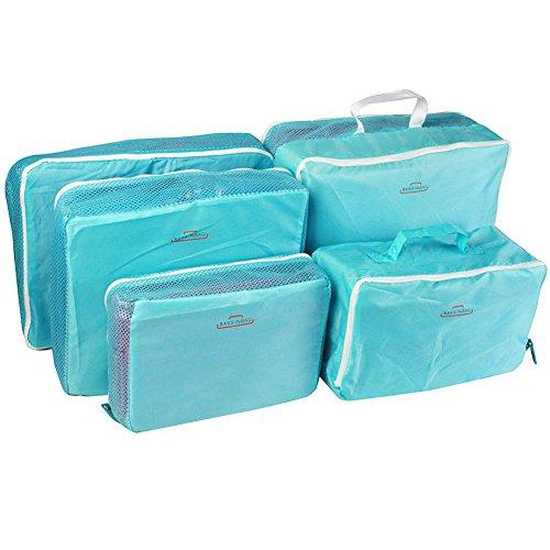 コズミックツリー 旅行トラベル 5セット収納袋トラベル バックインバック 5点 衣類圧縮袋 エアーピロー (青)