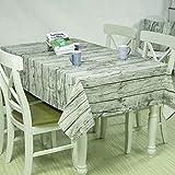 北欧木目調 綿麻 生地 テーブルクロス 環境保護の染色 吸水 耐熱 ビニール 長方形 正方形 お子様の食事にも最適です (100x140cm)
