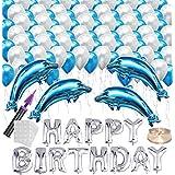 誕生日 風船 バースデー バルーン 豪華 HAPPY BIRTHDAY 飾り付け 風船 ポンプ 両面テープ付き(ブルー) J040