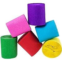 クレープ紙ストリーマー6色の誕生日パーティーウェディングフェスティバルのパーティーデコレーション,6パック