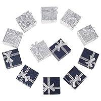 12pcs ギフトボックス リボン付ギフトボックス アクセサリー紙箱 アクセサリーギフト箱 指輪・ピアスギフトボックス プレゼント用 正方形