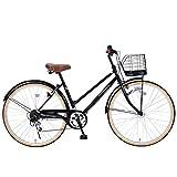 My Pallas(マイパラス) シティサイクル26インチ・シマノ6段ギア・LEDオートライト ブラック M-501SHINY ブラック