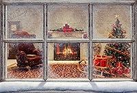 CSFOTO 窓用背景 5x3フィート クリスマス インテリア 写真 背景 暖炉 バーニング クリスマス ツリー デコレーション コシー 冬 家庭 お祝い クリスマス 写真 スタジオ 小道具 ビニール 壁紙