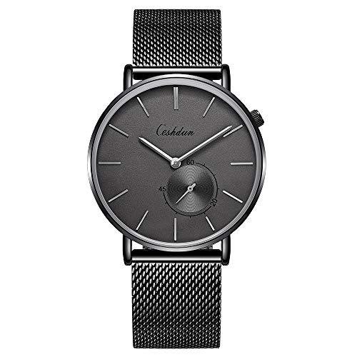 Ceshdun 腕時計 メンズ レディース クオーツ腕時計 30M防水 日本語取扱説明書 ステンレス製のブレスレット 超薄型 軽量 ブラック