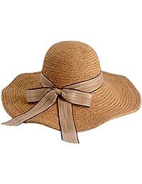 夏の茶色の麦わら帽子 - ファッションカジュアル大きな盛り合わせの日帽子夏の海辺の休暇のビーチ帽子 (色 : Brown B)