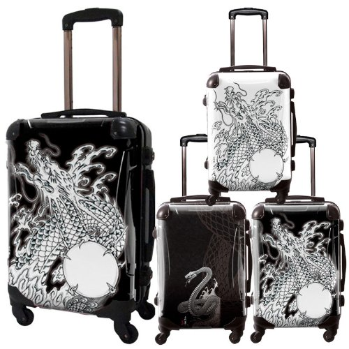 snake&dragon/広純アートスーツケース/個性的/フレーム4輪/TSAロック/機内持込可能/キャラート/アーティストデザイン/HIROZUMI 日本 スネーク&ドラゴン 龍 蛇 ホワイト ブラック/CRA01-J10120-24