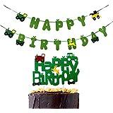 CaJaCa Construction Zone パーティーガーランドバナー 建設/トラック/鹿と建設/トラックケーキトッパー 誕生日パーティー用品 装飾